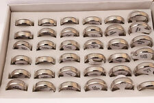 New Style Wholesale Bulk 5pcs Stainless Steel Silver Simple Unisex Rings
