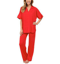 Natori Congo Jersey Tunic Loung Pajamas Set Satin Detail Red Womens XL X-Large