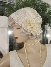 1920s Hat Flapper HAT Cloche Hat Modern Millie GREAT GATSBY CREAM LACE NICE