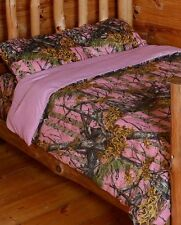 The Woods Queen Pink Camo 7 Piece Bedding Set Comforter and Sheets