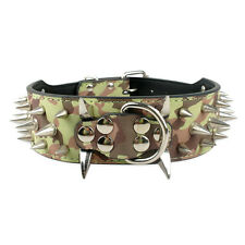 2.0 inch Wide Sharp Spiked Studded PU Leather Dog Collars For PitBull Boxer Bull