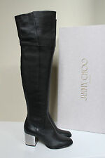 New sz 6.5 / 36.5 Jimmy Choo Mercer Black Leather Over the Knee Tall Boot Shoes