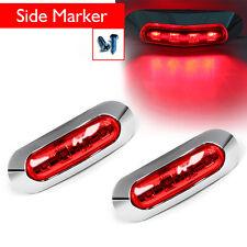 2x Red 4 LED Marker Indicator Light Tail Lamp Chrome Bezel For Truck Car SRY002