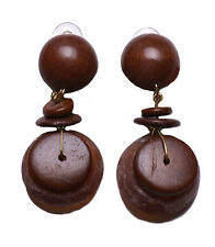 LADIES RUSTIC INSPIRED BROWN TRIBAL THEME LARGE STONE CLIP ON EARRING(ZX10)