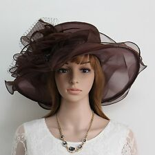 New Church Kentucky Derby Organza Wave Wide Brim  Ascot Dress Hat 3190 Brown