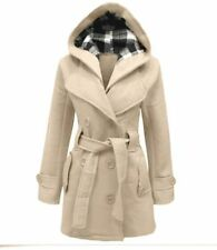 Womens Ladies Long Jacket Warm Wool Blends Trench Coat Slim Hooded Parka Outwear