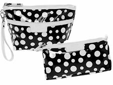 Black Polka Dot Toiletry Bags - Cosmetic and Wash Bag Set