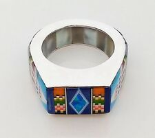 HANDMADE TURQUOISE LAPIZ SPINY OPAL CORAL INLAY .925 STERLING SILVER RING SIZE11