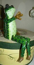 ADORABLE WOODEN JOINTED FROG SHELF SITTER DANGLE LEGS & MOVABLE ARMS FIGURINE