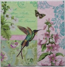 HUMMINGBIRD 2 individual LUNCH SIZE paper napkins for decoupage 3-ply