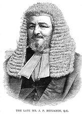 Mr Judah Philip Benjamin QC - Antique Print 1884