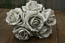 6 x SILVER GREY COLOURFAST FOAM OPEN COTTAGE  ROSES 6cm