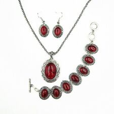 Antique Silver Plated Red Oval Turquoise Necklace Bracelet Earrings Jewelry Set