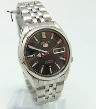 Men's Seiko 5 Auto wrist watch see-through back + box & paperwork new condition