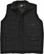 MEN'S BLACK PADDED FISHING HUNTING SHOOTING WAISTCOAT GILLET JACKET SIZE 4XL