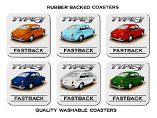 68'  -  71'   VW TYPE 3  FASTBACK COUPE  SET OF  6   RUBBER DRINK  COASTERS