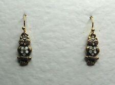 SMALL OWL DROP EARRINGS opal GLASS CRYSTAL peach EYES GOLD PLATE HOOK EARWIRE