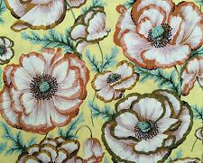 By 1/2 Yard Free Spirit Philip Jacobs Banded Poppy Butter ~ Floral Cotton Fabric