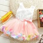 Girls Toddler Dress Princess Party Lace Pearl Flower Skirts SZ 1-4T YF036