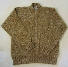 JAMIESONS Shetland Wool SWEATER Jacket Coat sz L Brown Camel Gray Zip Front Warm
