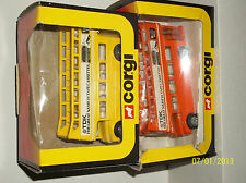 "CORGI 2 DOUBLE DECKER BUSES ROUTMASTER ""TDK"" Yellow model has chip on upper deck"