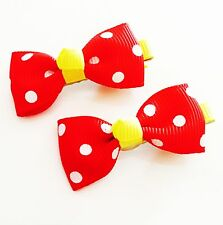 USA SELLER HANDMADE FABRIC Hair Clip PIN Claw Bowknot Kids Child Blue Red