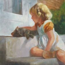 Me And My Shadow  by Susan Blackwood Signed Digital Kitty Cat Little Girl 12x12