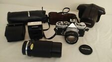 Olympus OM-2N SLR Film Camera with 50mm and 55mm Lens Kit