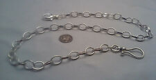 NEW HAND-MADE SILVER PLATED POCKET WATCH CHAIN: 4UR BELT OVAL ROLO-USA SELLER