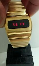 Vintage watch  (G) DIGITAL RED LED  70s  gold plated VGC WORKING PERFECTLY