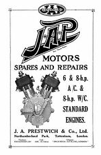 J.A.P. 6 & 8hp air cooled & 8hp water cooled engines parts book