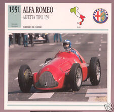 1951 Alfa Romeo Alfetta Tipo 159 Race Car Photo Spec Sheet Stat Info French Card
