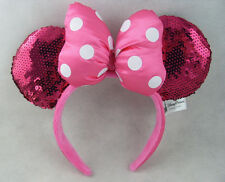 Disney Parks Minnie Mouse Pink Dot Bow Sequins Ear Headband Costume Party Rare