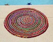 TAG LTD handwoven chindi round jute rug colorful purple pink dish mat area mini
