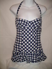 JUICY COUTURE Regal Navy Blue White 1Pc Skirted Contour Swimsuit - M - NWOT $173