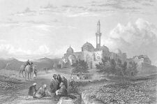 Jerusalem, TEMPLE MOUNT ZION KING DAVID'S TOMB MOSQUE ~ 1836 Art Print Engraving