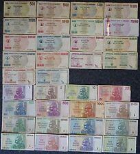 [19864] - 34 verschiedene BANKNOTEN ZIMBABWE: 1 $ - 10 TRILLION - HYPERINFLATION
