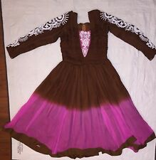 Empire Waist Dress Ombre Red/Pink Boho Gypsy Ethnic Sz Sm-Play House Costume