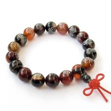 Agate FO Buddha Word Lotus Beads Tibet Buddhist Prayer Bracelet Mala