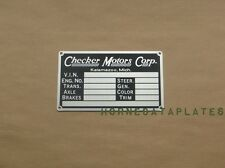 CHECKER MOTORS CORP. KALAMAZOO DATA PLATE YELLOW TAXI CAB CO. MARATHON 1956-1982