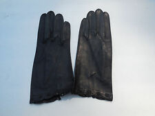 *NWOTS REAL KID LADIES BLACK LEATHER GLOVES UNLIED SIZE 6.5 MADE IN FRANCE