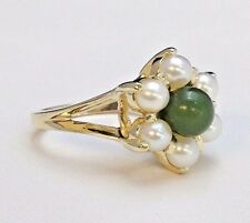14K Yellow Gold Green Jade and Pearl Flower Ring