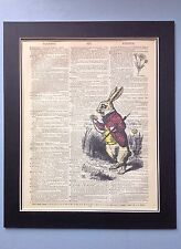Antique Vintage Dictionary Book Page Alice In Wonderland White Rabbit Stop Watch