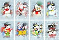 8 WINTER FROSTY SNOWMAN - SCRAPBOOK PAPER CRAFT HANG GIFT TAGS