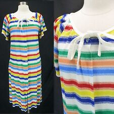 Vintage 70s RAINBOW Stripe Terry Cloth Coverup Beach Tent Dress M/L