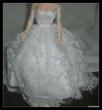 DRESS MATTEL BARBIE DOLL VINTAGE REPRODUCTION WEDDING DAY WHITE LACE BRIDE GOWN
