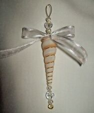 NAUTICAL SEA SHELL CHRISTMAS TREE ORNAMENT PEARLS RIBBONS BEADS VICTORIAN BEACH