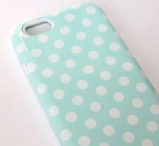For iPhone 6 / 6S - HARD&SOFT RUBBER HYBRID SKIN CASE COVER MINT BLUE POLKA DOTS