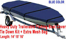 Trail-able Deluxe 14' - 16' Aluminum Fishing V-Hull Boat Cover Blue Color BTC