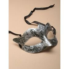 NEW Matt silver brushed metal effect Masquerade Mask Eye Prom Gothic halloween